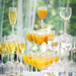 Pyramid of champagne glasses in holliday  — Stock Photo #57350129