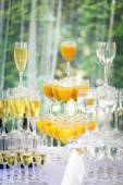 Pyramid of champagne glasses in holliday  — Stock Photo
