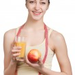 Beautiful girl with juice and apple — Stock Photo #65926847