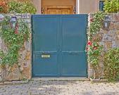 House green door, Athens suburbs, Greece — Stock fotografie