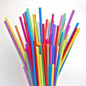 Drinking straws on white paper, space for typing — Stock Photo