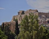 Acropolis and columns of the Olympian Zeus, Greece — Stock Photo