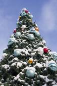Decorated Christmas Tree with Snow — Stok fotoğraf