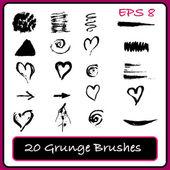 Grunge ink brushes set — Stock Vector