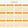 Calendar Vector Template Schedule 2016 — Stockvector  #78110856