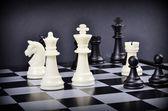 White  pieces on a chess board — Foto de Stock