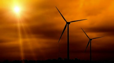 Two Silhouetted Wind Turbines — Stock Video