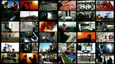 Industry and production occupations- split screen — Stock Video