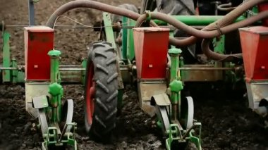 Agricultural machinery- seeder — Stock Video