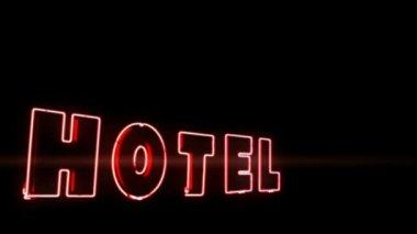 Virou vermelha iluminada publicidade para o hotel — Vídeo stock
