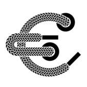 Shoe lace euro symbol — Stock Vector