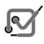 Shoe lace checkmark symbol — Stock Vector