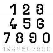 Black simple font numbers — Stockvector