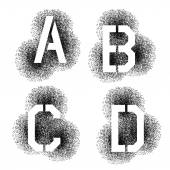 Spray stencil of letters — Stock Vector