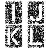 Stencil angular spray font letters I J K L — Stock Vector