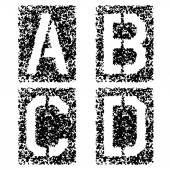 Stencil angular spray font letters A B C D — Stock Vector