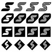 Ornate letter S black symbols — Stock Vector