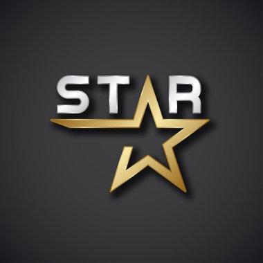Golden star inscription icon