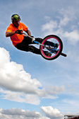BMX Rider Gets Airborne Performing At State Fair — Stock Photo