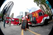 Fish Eye Perspective Of Customers Buying Meals From Food Trucks — Stock Photo