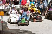 People Race Miniature Motorized Vehicles At Maker Fair — Stock Photo