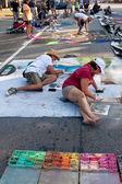 Chalk Artists Sketch Elaborate Halloween Scenes On Street — Stock Photo