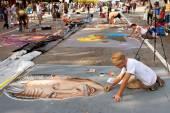 Chalk Artists Create Elaborate Halloween Scenes On Street — Stock Photo
