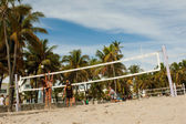 Wide Shot Of People Playing Beach Volleyball In Miami — Stock Photo