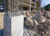 Cement prop in  building construct site — Stock Photo