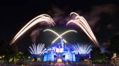 Cinderela Castle And The Famous Stars Firework Show Of Hong Kong DisneyLand — Stock Photo