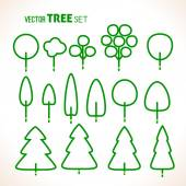 Set of green trees icons — Stock Vector