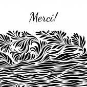 Black and white hand drawn merci background — Vecteur