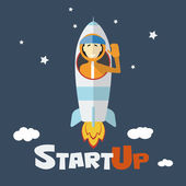 Vector concept of start up new business project infographic with rocket and astronaut. Vector illust. — Stock vektor