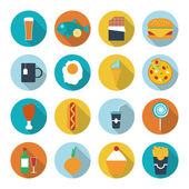 Set of flat design icons for food and drink. Vector illustration — Stock Vector