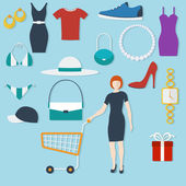 Shopping concept with flat icons and women with trolley. Vector illustration — Stock Vector