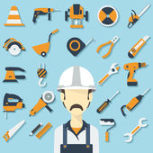 Construction concept with flat icons and builder. Vector illustration — Stock Vector