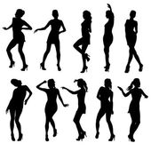 Beautiful women dancing silhouette isolated. Vector illustration — Stock Vector