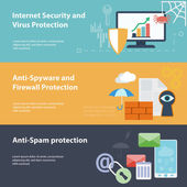 Hacker flat banner set with hacking virus protection — Stock Vector