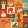 Retro political election campaign icons set. Vector illustration — Wektor stockowy  #62865985