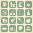 Retro childrens toys icon set. Vector illustration — Stock Vector #62866119