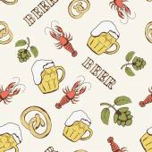 Glass of beer, hop, pretzel and crayfish seamless pattern — Stock Vector