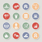 Round political election campaign icons set. Vector illustration — Stock Vector