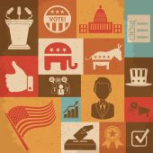 Retro political election campaign icons set. Vector illustration — Vetorial Stock