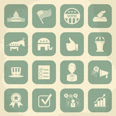 Retro political election campaign icons set. Vector illustration — Vector de stock