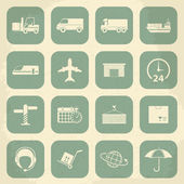 Shipping and Logistics Retro Icons. Vector illustration — Stock Vector