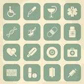 Retro Medical Icons. Vector illustration — Stock Vector