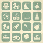 Retro childrens toys icon set. Vector illustration — Stock Vector