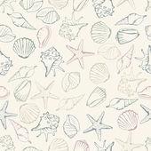 Sea shell seamless pattern. Vector illustration — Stock Vector