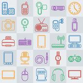 Vector gadgets line icon set — Stock Vector