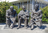 Yalta, RUSSIA - July 3: Opening of the monument in honor of the 70th anniversary of the Yalta Conference, the leaders of the Big Three, held at the Livadia Palace from 4 - 11 February 1945. 2015 — Stock Photo